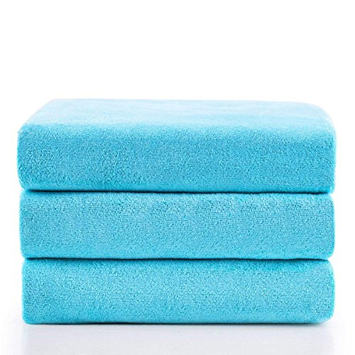 Jml Microfiber Bath Towels, Bath Towel 3 Pack(27″ x 55″), Oversized, Soft, Super Absortbent and Fast Drying, Antibacterial, Multipurpose Use for Sports, Travel, Fitness, Yoga – Sky Blue