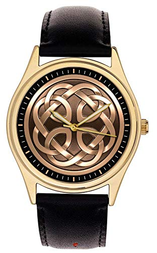 - BEAUTIFUL VINTAGE CELTIC KNOTS PATTERN MEDIEVAL ART COLLECTIBLE SOLID BRASS WRIST WATCH