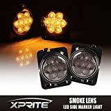 Xprite LED Amber Yellow Front Fender Side Marker Light Assembly with Smoke Lens for 2007 - 2017 Jeep Wrangler