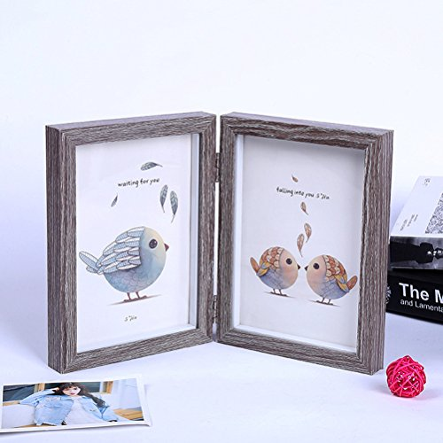 1pc 6x8 Inch Fashion Simple Wooden Picture Frame Double Rectangle Photo Frame (Light Grey) (Dresser Drawer Six Tower)