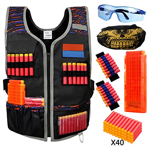 Hely Cancy Large Size Adjustable Tactical Vest Kit Compatible with Nerf Guns N-Strike Elite Series