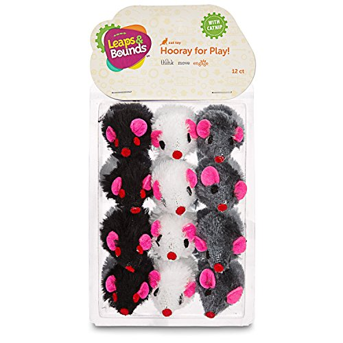 Leaps & Bounds Fuzzy Mice Cat Toys with Catnip, Pack of 12