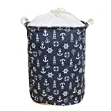 Large Laundry Hamper Large Laundry Hamper 18 Inches Waterproof Folding Clothes Storage Basket Toy Organizer with Handles Mediterranean Style for Bedrooms, Nursery, Closets by Orino (Navy Blue)
