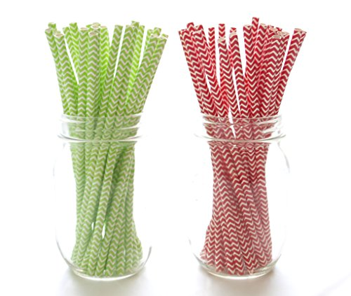 Christmas Party Straws, Green & Red Paper Straws (50 Pack) - December Holiday Party Supplies, Xmas Chevron Straws