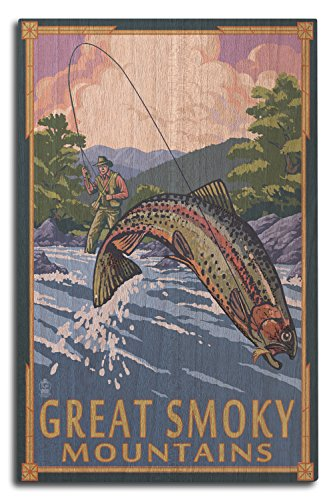 (Lantern Press Great Smoky Mountains National Park, Tennesseee - Angler Fly Fishing Scene (10x15 Wood Wall Sign, Wall Decor Ready to)