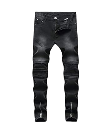 Hombre Transpirable Super Skinny Fit Pantalones Vaqueros Rotos Elasticos Jeans