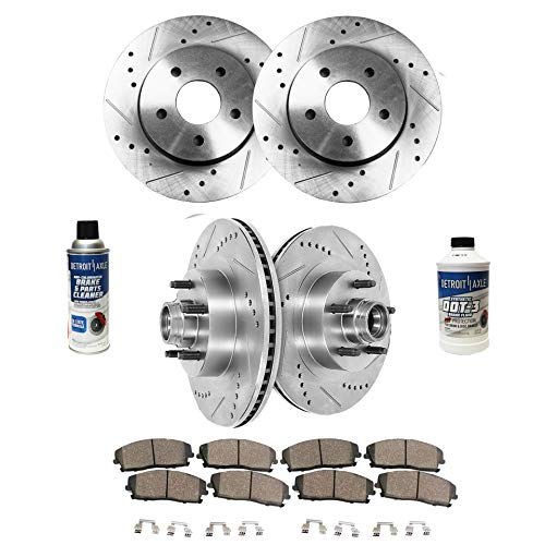 Detroit Axle - All (4) Front and Rear Drilled and Slotted Disc Brake Rotors w/Ceramic Pads w/Hardware & Brake Cleaner Fluid for 2000 2001 2002 2003 2004 Ford F-150 2WD 5Lug - [2002 Lincoln Blackwood]