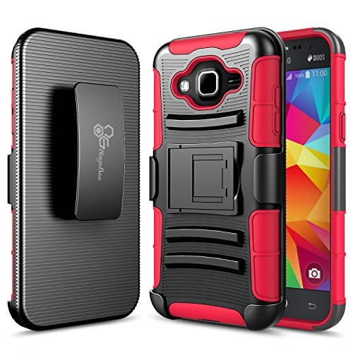 Samsung Galaxy Express 3 Case, Galaxy Luna (4G LTE)Case, Galaxy J1 2016 Case, Galaxy Amp 2 Case, NageBee [Heavy Duty] Armor Shock Proof [Swivel Belt Clip] Holster [Kickstand] Combo Rugged Case - Red