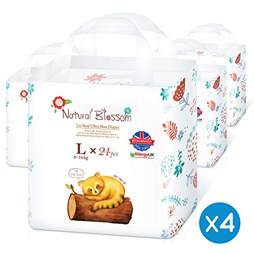 Natural Blossom - Disposable Hypoallergenic Easy Pull Up Pants Baby Diapers, Size 4(20-31lbs), 24pcs 4packs Count 96