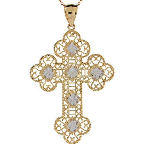Tone Budded Cross (10k Two Tone Diamond Cut Gold Filigree Budded Design Religious Cross Pendant)