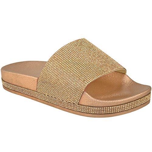 pedrería Sin Planos Heelberry Mujer Brillante Deslizables Metálico Cordones Verano Números Pedrería Thirsty Zapatos Sandalias Oro Fashion Rosa qAatw84a