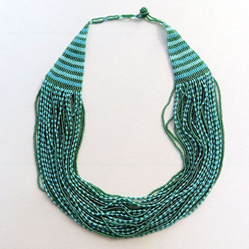 (African Zulu beaded cascade necklace - Sky collection)