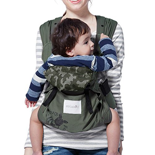 Mamaway Hugaroo Cross Back Temp. Balance Baby / Child Carrier, Extendable Shoulder Strap & Back Lumber Supports, With Hood Cover, Drool Teeth Pad, All Carry Positions, Newborn to Toddler - Green