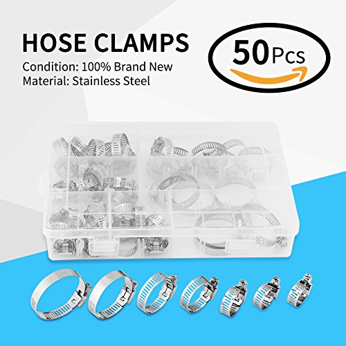 Fdit 50pcs Stainless Steel Hose Clamps Adjustable Tube Clamps Clip Lock Assortment Set for Plumping Piping10 Kinds of Size by Fdit (Image #6)