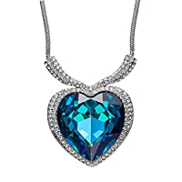 "Qianse ""Heart of the Ocean Pendant Necklace"" Made with Heart Shape Blue SWAROVSKI ELEMENTS Crystal"