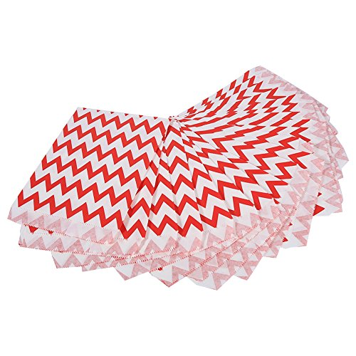 25PCS/Pack Wedding Party Supplies Stripe Candy Buffet Paper Bags Sweet Warp Treat Bag(Red)