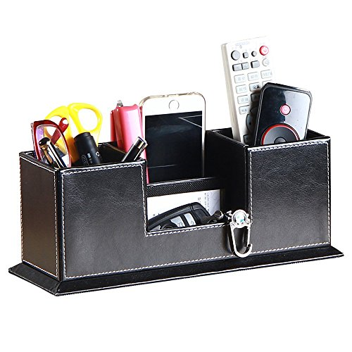 UnionBasic PU Leather 4 Compartment Desk Organizer Card/Pen/Pencil/Mobile Phone Office Supplies Holder Collection Desktop Organizer (Black (Cowhide)) Desktop Pen Holder