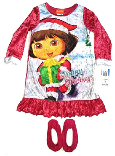 Explorer Nightgown - Dora the Explorer ~Happy Holidays Gown & Slippers~ Girls 4