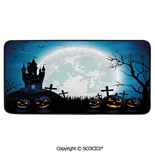Soft Long Rug Rectangular Area mat for Bedroom Baby Room Decor Round Playhouse Carpet,Halloween Decorations,Spooky Concept with Scary Icons Old -