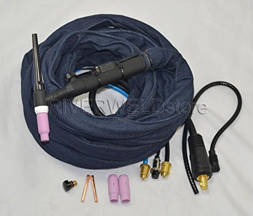 WP-18FV-25 Water cooled 350Amp TIG Welding Torch Complete With Flexible & Gas Valve Head 25Feet (Water Cooled Torch)