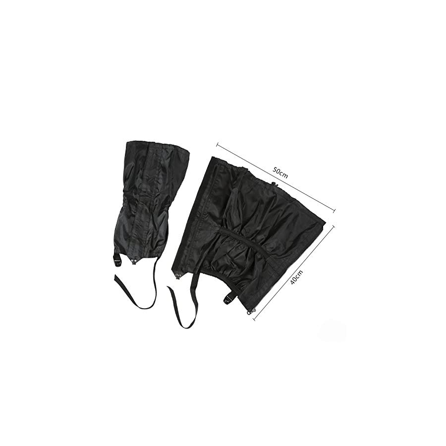 Astra Depot 1 Pair Jet Black Unisex Double Sealed Zippered Closure TPU Strap Waterproof 400D Nylon Cloth Leg Gaiters Leggings Cover for Boots Shoes Lower Legs Pants Jeans Trousers