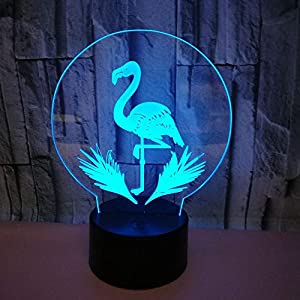 Creative 3D Flamingo Night Light 7 Colors Changing USB Power Touch Switch Decor Lamp Optical Illusion Lamp LED Table Desk Lamp Children Kids Brithday Christmas Gift