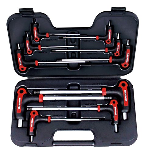 AMPRO T22901 Metric T Handle Ball Point and Hex Wrench Set, 10-Piece ()