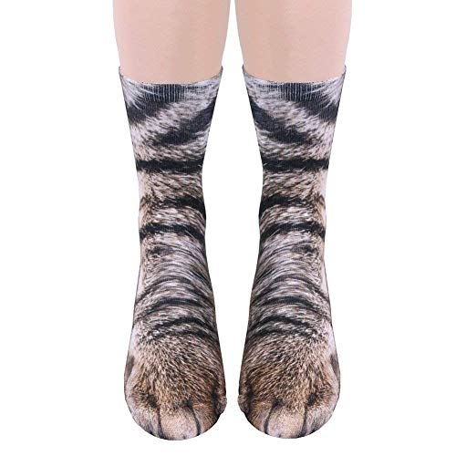 Unisex Adult Animal Paw Crew Socks - Sublimated Print - Cat -