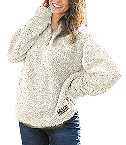 Jjyee Womens Fleece Pullover Fashion Sweater Solid Color Zippered Apricot L