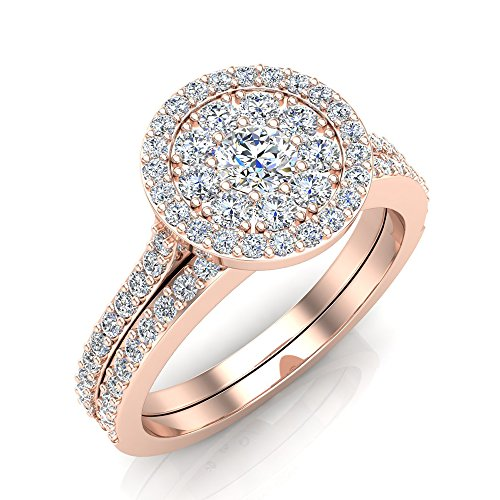 Solitaire Diamond Wedding Ring Set Illusion Setting 10K Rose Gold 0.80 ctw (Ring Size 7)
