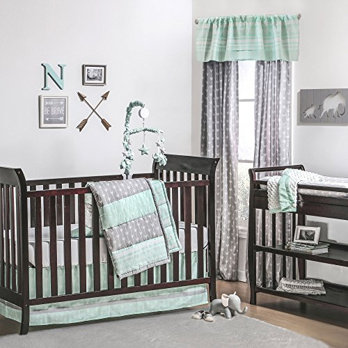 Mint Green and Grey Arrow Stripe 4 Piece Baby Crib Beddin...