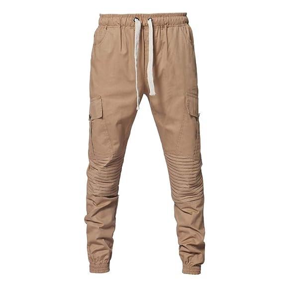 Hombre Pantalones Largos, ZARLLE Moda De Deporte Camuflaje Trincaje Cinturones Casual Loose Pants Drawstring Pant Pantalones Termicos Hombre Pantalones De ...