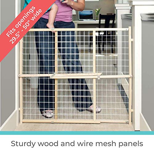 "51cY%2BBpVUTL - Toddleroo By North States 50"" Wide Extra Wide Wire Mesh Baby Gate: Installs In Extra Wide Opening In Second Without Damaging Wall. Pressure Mount. Fits 29.5""-50"" Wide (32"" Tall, Sustainable Hardwood)"