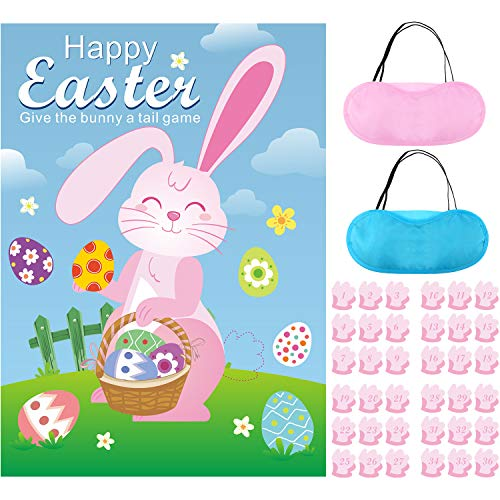 Pin The Tail On The Bunny - Blulu Easter Games Fun Easter Egg Hunt Activities for Kids Adults Family Easter Party Decorations Favors Supplies Give The Bunny A Tail Game Include 36 Tails Stickers
