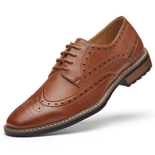 Men's Black Dress Shoes Formal Lace Up Wingtip Oxford Shoes Brown 8