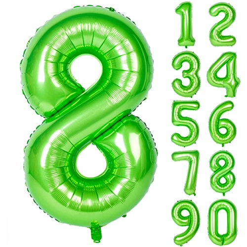 40 Inch Green Large Numbers 0-9 Birthday Party Decorations Helium Foil Mylar Big Number Balloon Digital 8 (Number 8 Birthday Party)