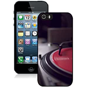 Fashionable Custom Designed iPhone 5S Phone Case With Vintage Turntable_Black Phone Case