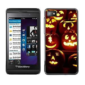 Blackberry Z10 - Metal de aluminio y de plástico duro Caja del teléfono - Negro - Halloween Pumpkin Parade