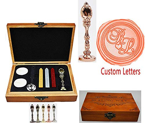 MNYR Vintage Customize Personalized Custom Monogram Wedding Wax Seal Stamp Melting Spoon Stick Candle Wooden Gift Box Invitation Embellishment Gift Wrap Package Custom Logo Word Sealing Wax Stamp Set