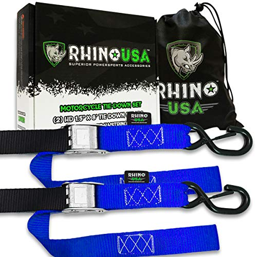 (RHINO USA Motorcycle Tie Down Straps (2 Pack) Lab Tested 3,328lb Break Strength, Steel Cambuckle Tiedown Set with Integrated Soft Loops - Better Than a Ratchet Strap)
