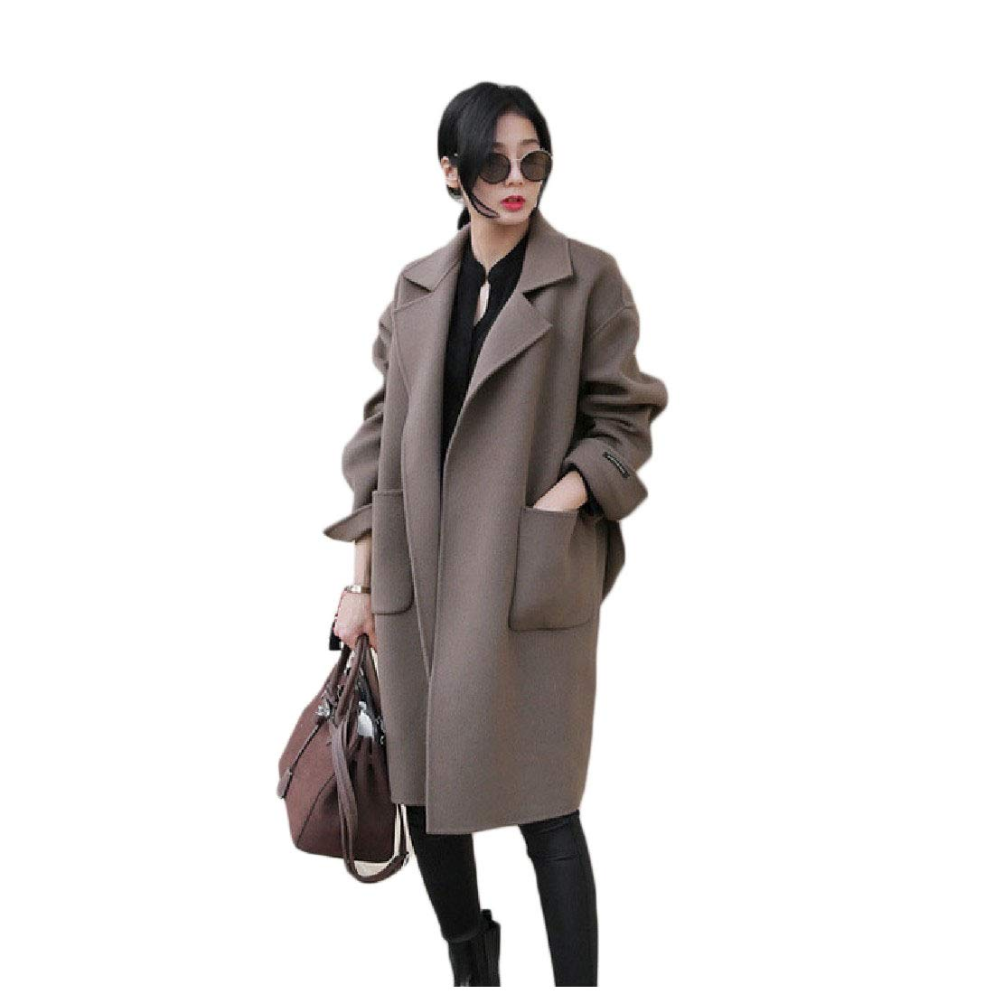 Coffee YKeen Womens Open Front with Plus Size Strappy Mid Long Trench Cloak Wool Coat