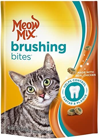Meow Mix Brushing Bites Dental Cat Treats, Chicken Flavor, 2.25oz Pack of 2
