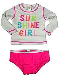 Osh Kosh B\'gosh - Baby Girls 2 Piece UPF 50+ Sun Shine Rashguard Swim Set, White, Neon Pink 37821-12Months