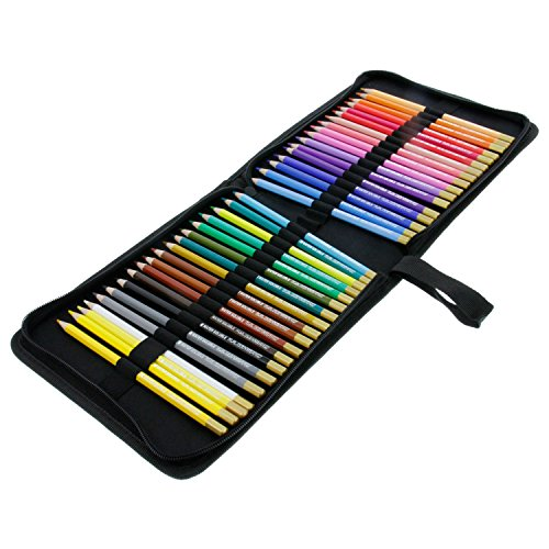 U.S. Art Supply 36 Piece Watercolor Artist Grade High Quality Water Soluble Colored Pencil Set, Full Sized 7 Inch Length * Now Includes a Nylon Pencil Case