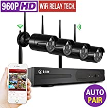 1080P 8CH Home Security surveillance systme Kit with 4 x 960P HD Wireless IP Cameras auto-match 80ft/20M night vision(Support extension) Easy Setup and Remote Access (960P NO HDD)
