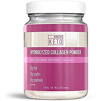 Kiss My Keto Hydrolyzed Collagen Powder Bovine, 3 Pound Unflavored, Grass Fed, Pasture Raised Peptides, Mixes Easily In Hot And Cold Liquids, Supports Ketogenic and Paleo Lifestyles