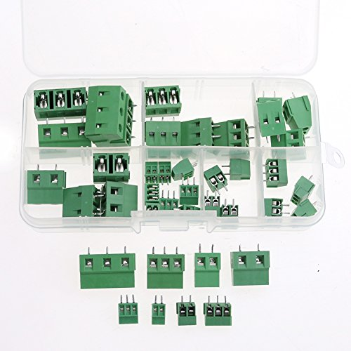 Glarks 40pcs(8 Kinds) 2.54 / 3.8 / 5.0 / 7.5mm Pitch 2 / 3 Pin PCB Mount Screw Terminal Block Connector Assortment Kit (3 Pin Terminal Block)