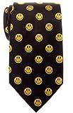 novelty ties - Retreez Happy Smiley Face Emoticon Woven Microfiber Men's Tie - Black