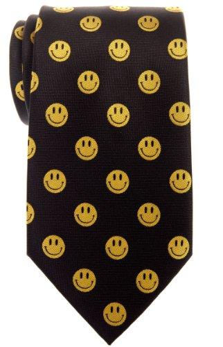 Retreez Happy Smiley Face Emoticon Woven Microfiber Men's Tie - Black Face Necktie