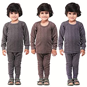 Kuchipoo Unisex Regular Fit Thermal Top and Pyjama Set (Pack of 3)